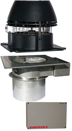 Enervex EcoDamper System consists of the RS Chimney Fan, the Mechanical Fireplace Damper (MFD) and the ADC100 Control.